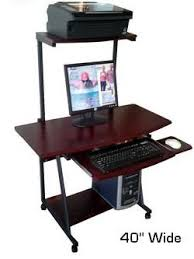 Compact Computer Desk With Hutch S 40 40 Mobile Computer Desk With Hutch Printer Shelf Portable