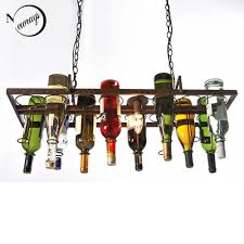 discount recycled retro hanging wine bottle led ceiling pendant