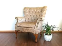 Brocade Home Decor Vintage Curved Wingback Chair In Gold Brocade Upholstery Classic