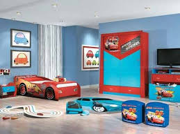bedroom furniture car theme with red bed added blue wooden