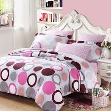 girls bedroom bedding white gray purple and hot pink circle and polka dot print full