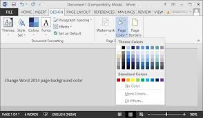 How To Change Page Background Color In Word 2016 2013 Pages Background Color