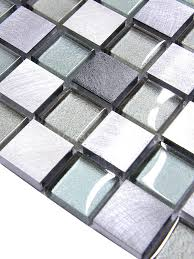 Metal Kitchen Backsplash Tiles Gray Blue Color Metal And Glass Mixed Mosaic Kitchen Backsplash