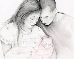 custom portrait hand drawn portrait from your photo gift for