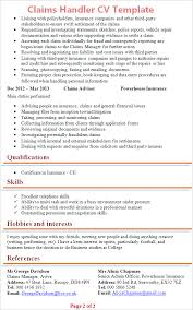 Hobbies And Interests On Resume Examples by Claims Handler Cv Template Tips And Download U2013 Cv Plaza