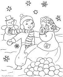 christmas scene coloring pages snowman