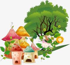 vector cute cartoon elf house plant trees houses house cartoon