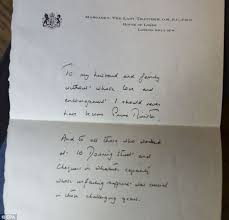 thatcher s handwritten letter to my husband and family thanking