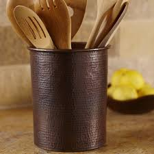 kitchen utensil canister solid copper utensil holders 7 inch and 3 25 inch trails