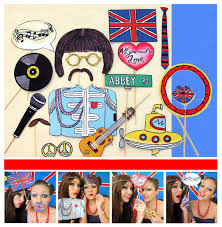 themed photo booth the beatles inspired photo booth props for a