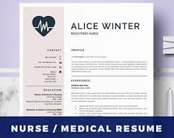 Sample Rn Nursing Resume by Nurse Resume Etsy