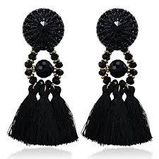 black earings emanco black boho statement earrings for women big