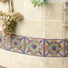 geraniums design talavera mexican ceramic tiles native trails