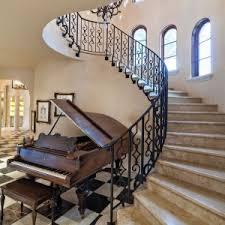 Black Banister Miami Wrought Iron Staircase Mediterranean With Window Sill Drum
