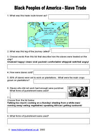 black peoples of america slave trade 5th 8th grade worksheet