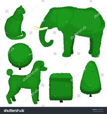 Elephant Topiary Set Topiary Bushes Different Shapes Vector Stock Vector 433279207