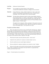 earthworm pre lab worksheet mr e science answers 100 images