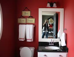 trendy red wooden bedroom wall cabinet with mirror decorated white