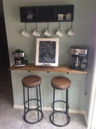 Bar Kitchen Cabinets Diy Coffee Bar 1x12 Lumber Stained To Match Kitchen Cabinets And
