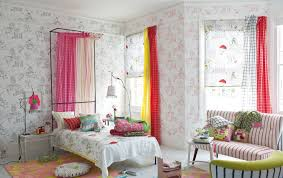 teenage bedroom ideas with wallpaper and striped loveseat and