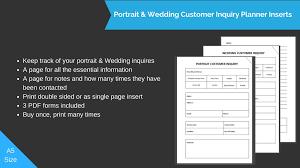 wedding inserts portrait wedding customer inquiry planner inserts biblino