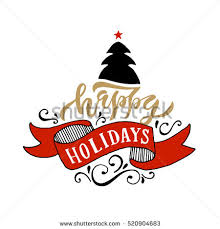 sketched happy holidays logotype badge stock vector 339462650