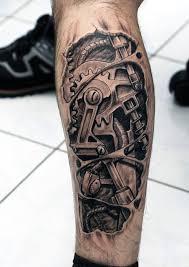 biomechanical tattoo for knee 50 mechanic tattoos for men masculine robotic overhauls