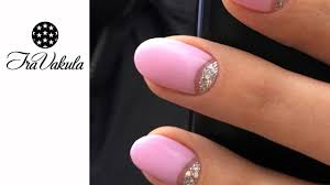 silver glitter u0026 pink gel polish half moon manicure nail art step
