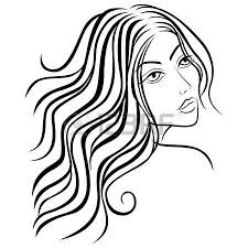 beautiful women head with long hair sketching vector illustration