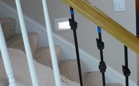 Stair Banister Parts Replacing Wooden Stair Balusters Spindles With Wrought Iron