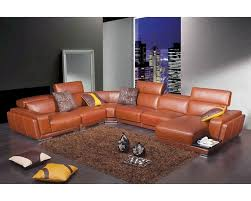 modern orange leather sectional sofa 44l2996