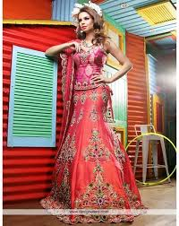 pink combination de dazzling peach and dark pink combination bridal lehenga