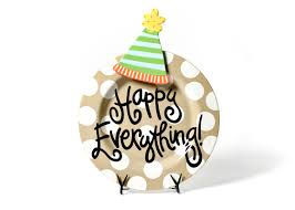 happy everything platter wholesale neutral dot happy everything big platter with party hat big