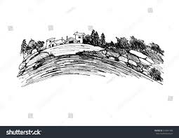graphically drawing illustration countryside mountain landscape