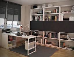 white wooden study table on grey rug added by grey window blinds