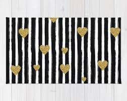 White And Black Area Rug Black And White Rug Etsy