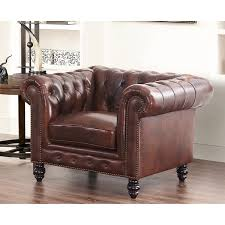 Leather Armchair Abbyson Grand Chesterfield Brown Top Grain Leather Armchair Free