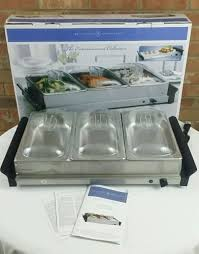 bella cucina triple buffet server warmer tray entertainment