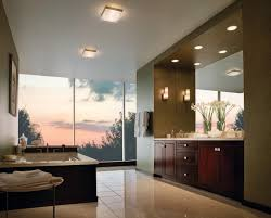 modern luxury bathroom design with recessed light above brown