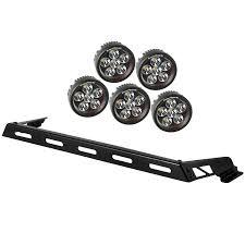 jeep hood accessories rugged ridge 11232 07 hood light bar kit 5 round led lights 07