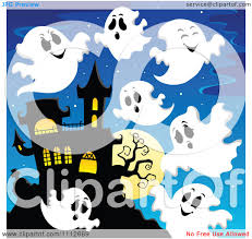 vector ghosts clipart spooky ghosts flying around a haunted house royalty free