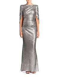 talbot runhof lyst talbot runhof sequin cape gown in metallic