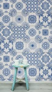 Tile Wallpaper White And Blue Portuguese Tiled Wallpaper Portuguese