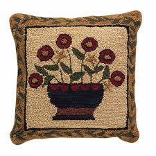 country home decor flower basket hooked pillow