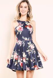 floral dresses floral fit and flare halter crisscross side mini dress shop