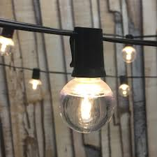 50 ft black c9 string light with smooth led g40 warm white bulbs