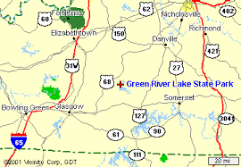 map kentucky lakes rivers kentucky state parks green river lake state park