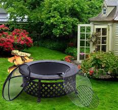 Firepits Co Uk Outsunny Garden Metal Pit Black Aosom Co Uk