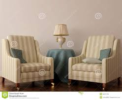 two classic chair and table with lamp stock images image 28075764