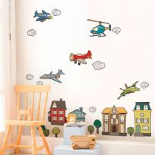 airplanes and helicopters peel and stick repositionable fabric airplane and helicopter wall sticker